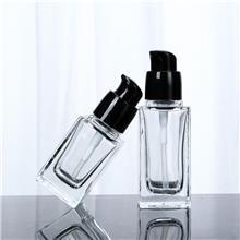 30ml透明方形粉底液瓶 20ML乳液玻璃瓶40ml化妆品BB隔离霜按压瓶