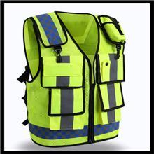 建筑工程多口袋透气反光背心 葫芦形渔网格布反光马甲 交通安防反光马甲