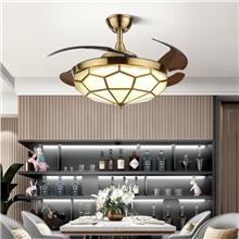 风扇灯餐厅 现代简约纯铜灯时 卧室电扇灯客厅隐形扇 变频吊扇灯