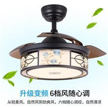 吊扇灯客厅餐厅卧室隐形电扇灯复古美式家用风扇灯酒店吊灯