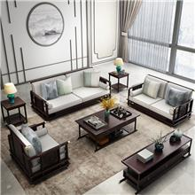 陶舒双人位沙发 胡桃色实木沙发组合 冬夏两用现代中式木沙发套 装储物布艺沙发 小户型客厅家