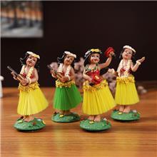 [月销500+]树脂草裙公仔夏威夷跳舞女孩汽车装饰品  厂家定制树脂工艺品 卡通树脂摆件