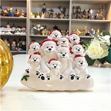 圣诞熊摆饰 出口创意圣诞树脂工艺品 卡通圣诞微景观装饰品 礼物家居摆件 定制树脂摆件