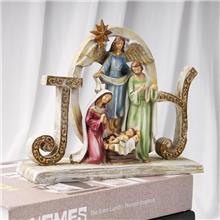 树脂宗教基督教人物摆件马槽组套装摆设 树脂马槽宗教工艺品
