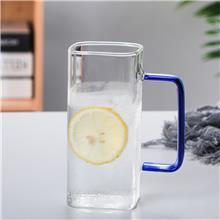 透明加厚办公杯 方形泡茶彩把玻璃杯 玻璃杯家用水杯 现货供应