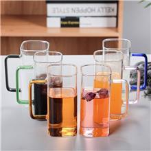 可按需求定制 方形泡茶彩把玻璃杯 玻璃杯家用水杯 透明加厚办公杯