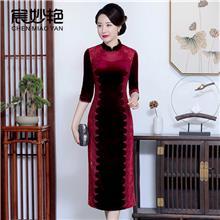 中老年女装大码女装品牌时尚妈妈装婚礼服主持人中式改良旗袍批发