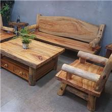 全实木独板原生态香樟木沙发套装组合 新中式庭院民宿户外田园沙发 可定做
