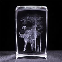 十二生肖内雕水晶摆件 ZPH-58 3D内雕水晶方块 水晶工艺品厂家