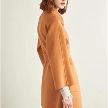 双面呢大衣 2021冬季女装手工双面羊绒大衣 中长款阿尔巴卡双面呢羊毛呢大衣