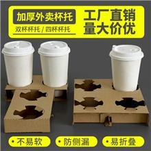 牛皮纸袋打包袋奶茶咖啡外卖饮品杯托单两杯袋包装袋定制手提袋子