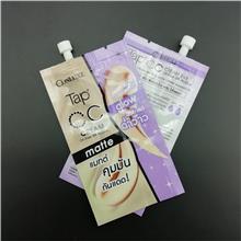 化妆品塑料袋定做7G粉底液精华液防晒霜一次性吸嘴袋带盖子试用装