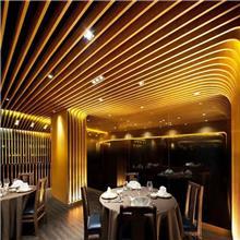 中餐厅墙面吊顶装饰方通 生产异形铝方通厂家 弧形铝方通定制