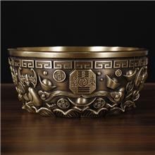 如意聚宝盆摆件 黄铜金属工艺品 家居客厅酒柜风水大小号办公室装饰品
