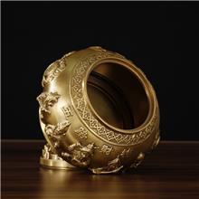 纯黄铜五路财神聚宝盆 铜制带盖子储蓄盆存钱罐 金属工艺品摆件