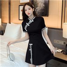 2020年春季新款赫本风御姐套装轻熟风小个子新款改良旗袍两件套女