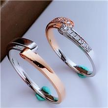 钻石对戒18K金au750金戒指真钻石戒指情侣对戒深圳珠宝镶嵌定制