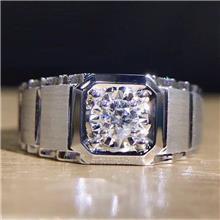 批发男士钻戒 18K金戒指镶嵌南非钻石订婚结婚男钻戒珠宝镶嵌定制