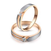 情侣结婚戒指 双色钻戒 18K白金玫瑰金对戒深圳珠宝镶嵌定制工厂